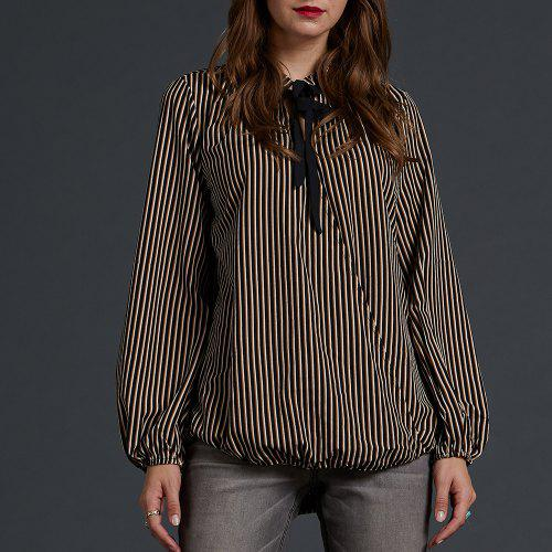 e6d774cc357 SBETRO Striped Crepe Printed Blouse Tie Neck Lantern Sleeve Office Lady
