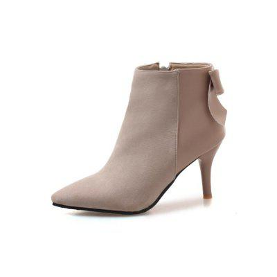 Autumn and Winter Fashion New High-Heeled Pointed Female Boots Stitching Upper B