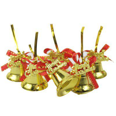 Christmas Tree Pendant Gold Red Ribbon Bell 6 Pack