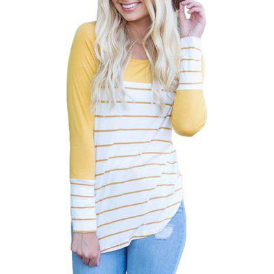 Women's Long Sleeve Round Neck Striped T-Shirt Cotton Patchwork Tshirt Blouse