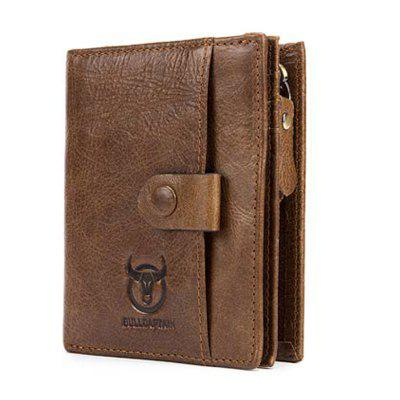 Fashion Genuine Leather Men Wallet Vertical Type Male Card Coin Pocket Purse
