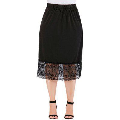 Solid Color Hollow Out Lace Skirt