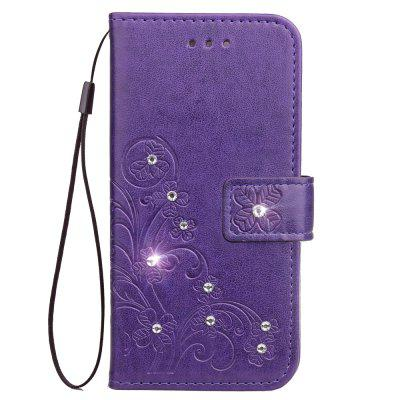 For Xiaomi Mi 6X Case Bling Diamond + Embossing Flower PU Leather Wallet Cover