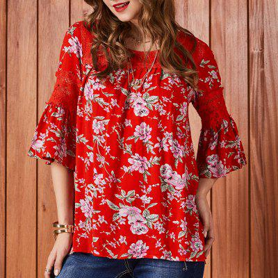 SBETRO Floral Print Lace Bell Sleeve Loose Women Blouse Autumn Winter