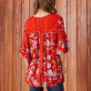 SBETRO Floral Print Lace Bell Sleeve Loose Women Blouse Autumn Winter - RED