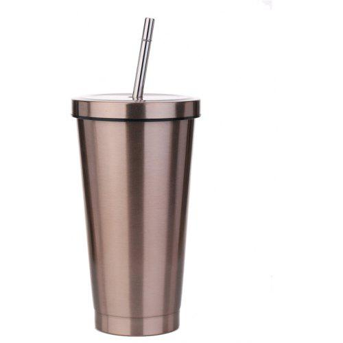 Stainless steel coffee mug with classic straw