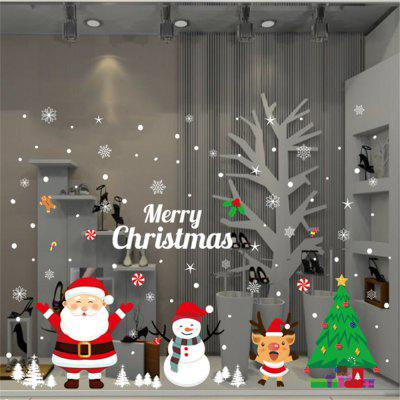 New Merry Christmas Tree Santa Claus Bell Wall Decals Kids Rooms Window Decal