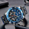 Megir Men Leisure Calendar Watch Waterproof Large Dial Leather Watch Watch Box - BLUE