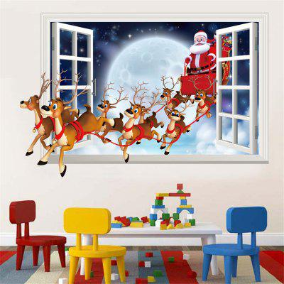 Santa Claus Wall Sticker Imitation 3D Effect Removable Fake Window