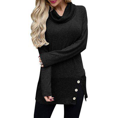Long T - Shirt Women with High Collar and Long Sleeve Buttons in Autumn