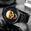 New Explosion Personality Skull Waterproof Quartz Steel Band Thin Men's Watch - čIERNA