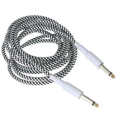 White Cloth Braided Tweed Guitar Cable Cord 1M