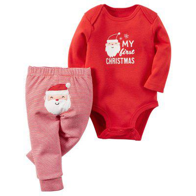 Baby Boys Girls Christmas Letter Cartoon Red Romper Stripe Long Pants Clothes