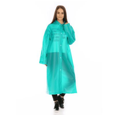 Adult PVC long thick rain poncho raincoat with transparent hoods for outdoor