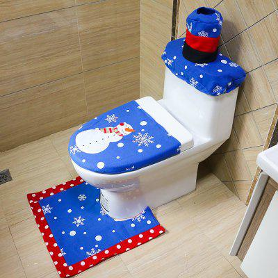 Christmas with Hand Embroidered Christmas Snowman Toilet Set