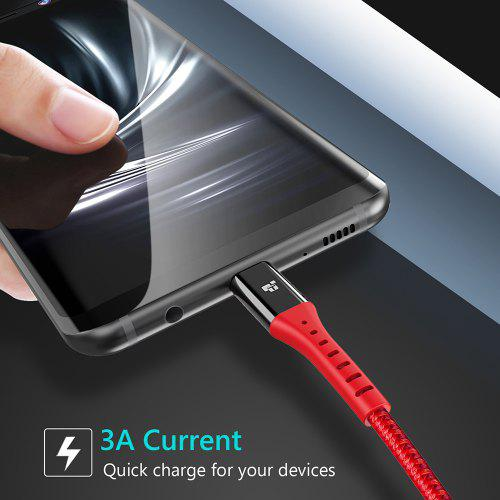TIEGEM USB Type C Cable for Samsung Galaxy S9 Note 8 9  USB C Quick Charge Cable