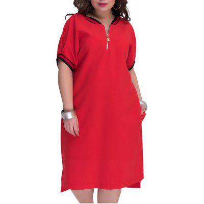 New Solid Big Size Women Dresses With Zippers O-Neck Casual Long Dress