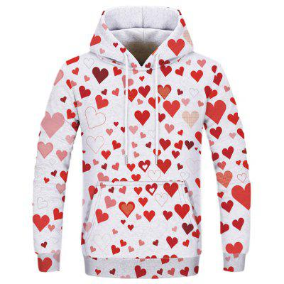 New Men Double Hat Casual Fashion Red Heart 3D Printed Hoodie