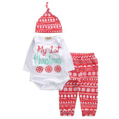 Baby Boys Girls Tops Romper Pants Hat 3PCS Outfits Set Christmas Clothes
