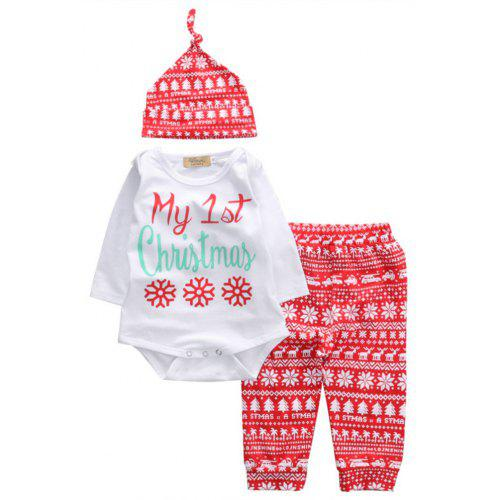 901dc042a Baby Boys Girls Tops Romper Pants Hat 3PCS Outfits Set Christmas Clothes