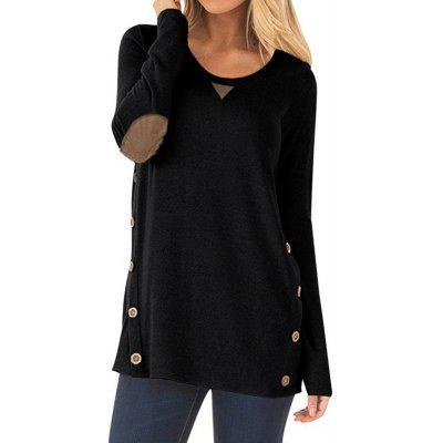 Women's Round Neck Button Patch Design Solid Color Casual Long Sleeve T-shirt