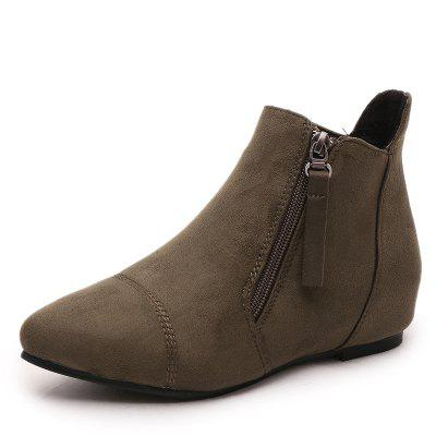 Inner Raised Zipper Suede Casual Ankle Boots Flat Heel Running Shoes
