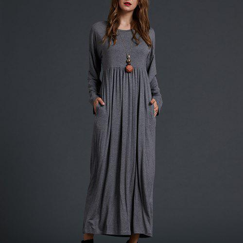 cfa945cc733 SBETRO Solid Knit Maxi Dress Solid Knit Empire Waisted Casual Fashion