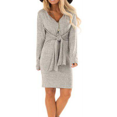 New Dress with A Long Sleeve V-Neck Dress
