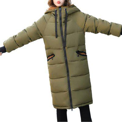 Down Hooded Long Cotton Coat