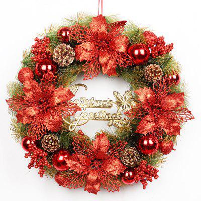 Christmas Flower Rattan Ring Ornament Door Decoration Christmas Wreath (50cm)