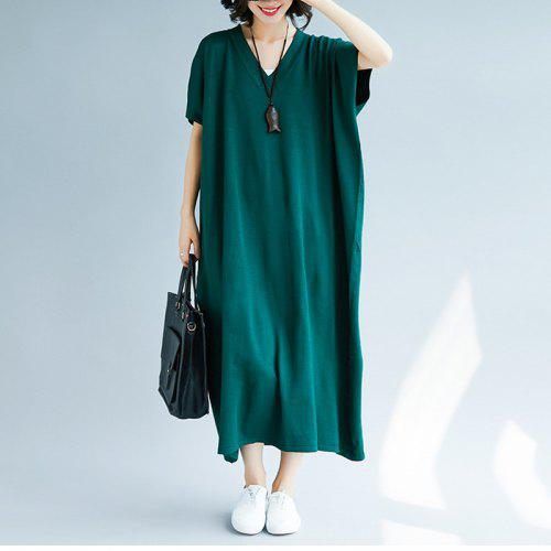 9b27ec1ea7f Large Size Solid Color Knit Long Dress -  30.16 Free Shipping ...