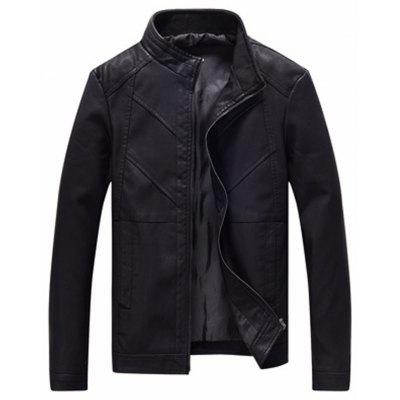 Men'S Fashionable Long Sleeved Comfortable Leather Jacket