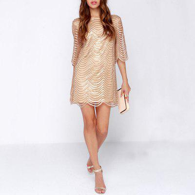 Sexy Sequins Back Leaking Sleeves Fashion Evening Dress