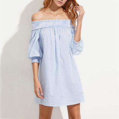 Sexy Fashion Word Collar in The Sleeves Behind The Banded Loose Dress