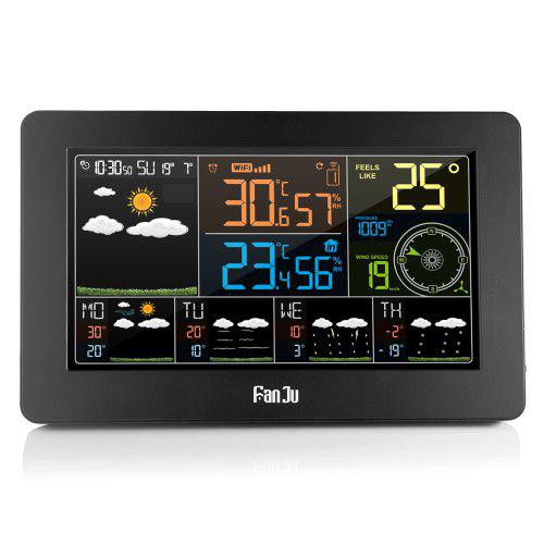 FanJu FJW4 Color Wi-Fi Weather Station with APP Control / Smart Weather Clock - BLACK EU PLUG