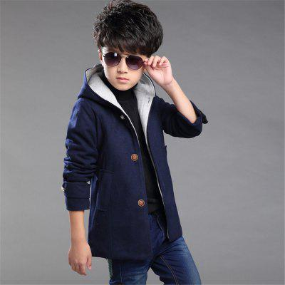 Boys Winter Clothing Wool Solid Color Coat Kids Thick Plus Jacket