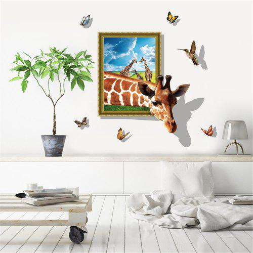 3d Effekt Giraffe Butterfly Wandaufkleber Fur Kinderzimmer Cartoon