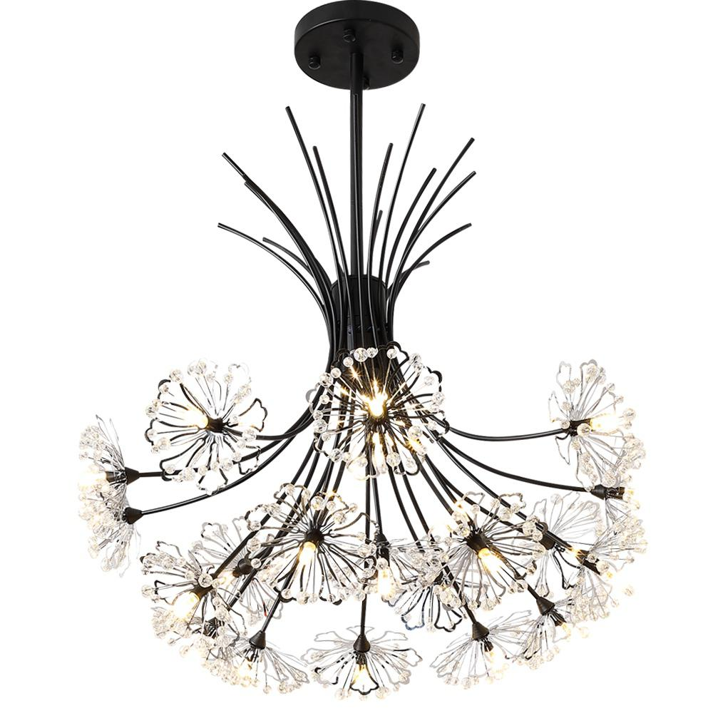HZ-093 Creative Dandelion Bouquet 19 Ceiling Lamps - 110-Warm light Black