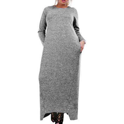 Casual Dress 5XL 6XL Automne Hiver Robe Longue Grande Taille Manches Longues Maxi Dress