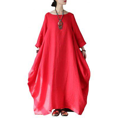 Ethnic Style Chinese Style Linen Loose Large Size Red Cotton and Linen Dress