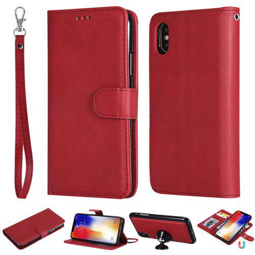 promo code 09618 7e9ce For Iphone XS Wallet Case 2 in 1 Detachable Magnetic Flip Cover For IPhone X