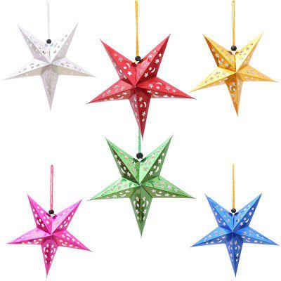 YEDUO  6Pce Laser Five-pointed Star Ceiling Ornaments Christmas Decoration