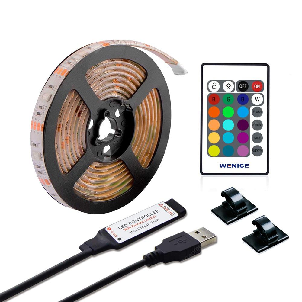 ZDM 2M Waterproof USB 5050 RGB LED Flexible Strip Light with 24 Key IR  Remote