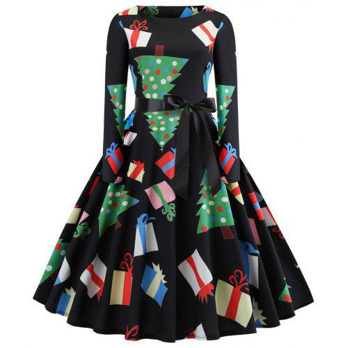 fashion womens christmas print criss cross gown evening party dress