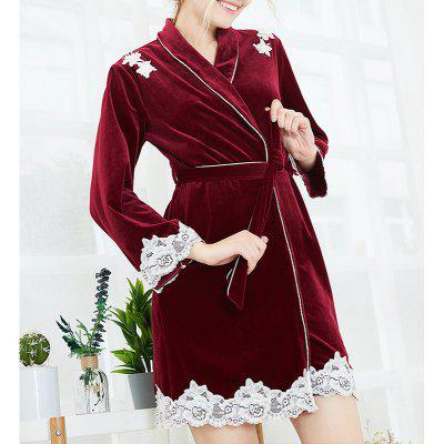 New Woman Soft Velour Full Sleeve with Lace Thick Autumn Winter Night-Robe