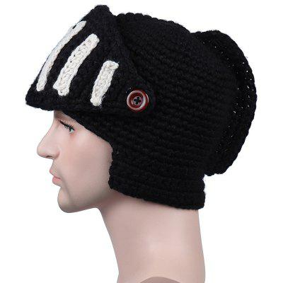 New Man Autumn Winter Handwork Rome Knight with Gladiator Mask Knit Sweater Hat