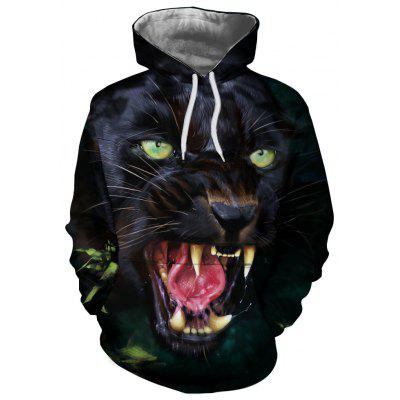 Men New Casual Fashion Black Wolf Head 3D Printed Hoodie