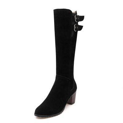 Thick Round Head Zipper Suede Knee Boots