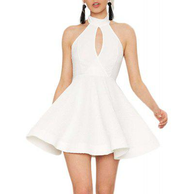 HAODUOYI Women's Fashion Sexy Openwork Backless Dress White