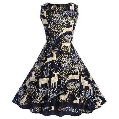 Christmas Print Sleeveless Swing Dress Deer